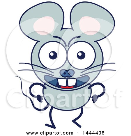 Clipart of a Cartoon Angry Mouse Mascot Character - Royalty Free Vector Illustration by Zooco