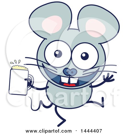 Clipart of a Cartoon Happy Mouse Mascot Character Holding a Beer - Royalty Free Vector Illustration by Zooco