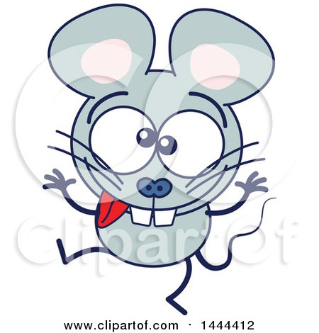 Clipart of a Cartoon Silly Mouse Mascot Character Making a Funny Face - Royalty Free Vector Illustration by Zooco