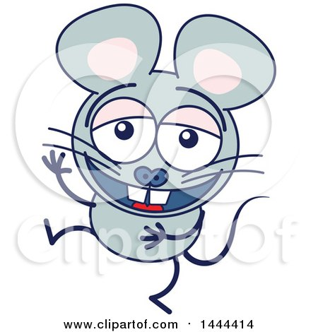 Clipart of a Cartoon Laughing Mouse Mascot Character - Royalty Free Vector Illustration by Zooco