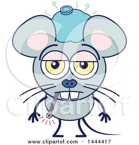 Clipart of a Cartoon Sick Mouse Mascot Character - Royalty Free Vector Illustration by Zooco