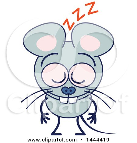 Clipart of a Cartoon Mouse Mascot Character Sleeping Upright - Royalty Free Vector Illustration by Zooco
