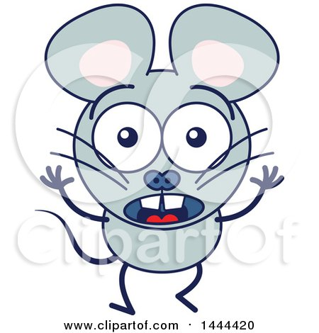Clipart of a Cartoon Surprised Mouse Mascot Character - Royalty Free Vector Illustration by Zooco