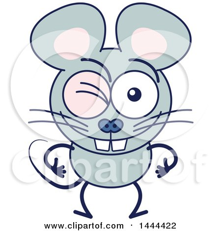 Clipart of a Cartoon Winking Mouse Mascot Character - Royalty Free Vector Illustration by Zooco