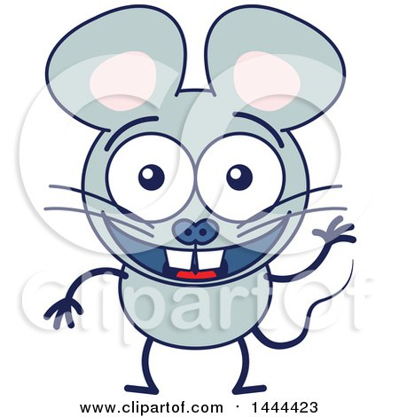Clipart of a Cartoon Waving Mouse Mascot Character - Royalty Free Vector Illustration by Zooco