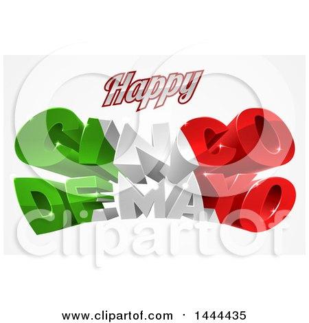 3d Mexican Flag Colored Happy Cinco De Mayo Design Posters, Art Prints