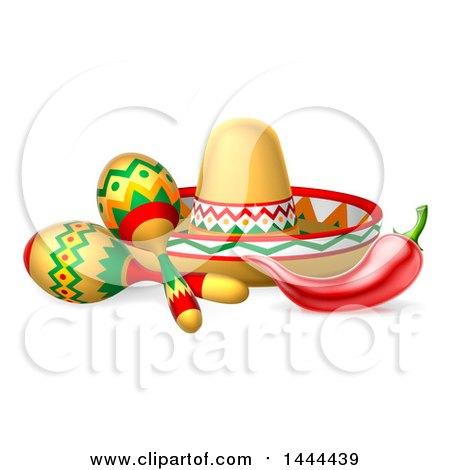 Cinco De Mayo Design with a Chili Pepper, Maracas and Mexican Sombrero Posters, Art Prints