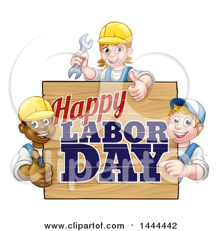 Clipart of a Group of Workers Around a Happy Labor Day Sign - Royalty Free Vector Illustration by AtStockIllustration