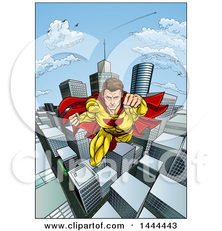 Clipart of a Pop Art Comic Caucaslan Male Super Hero Flying Forward over a City - Royalty Free Vector Illustration by AtStockIllustration