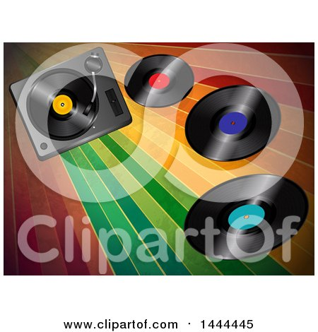 Clipart of a 3d Music Turntable Deck and Vinyl Records over Vintage Colorful Stripes - Royalty Free Vector Illustration by elaineitalia