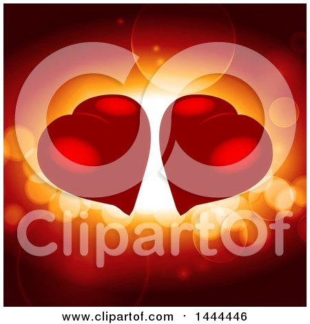 Clipart of Two Red Love Hearts over Flares - Royalty Free Vector Illustration by elaineitalia