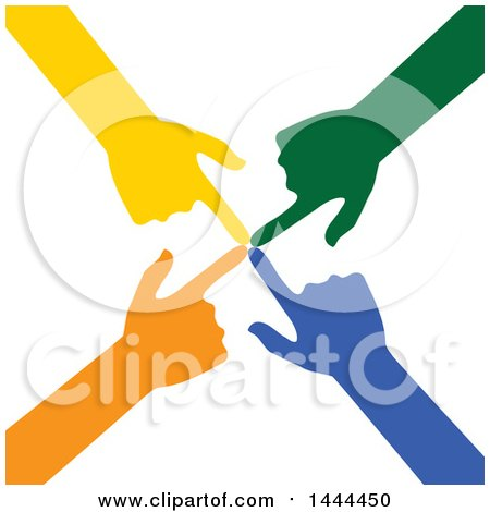 Clipart of a Group of Colorful Hands Pointing to a Central Spot - Royalty Free Vector Illustration by ColorMagic