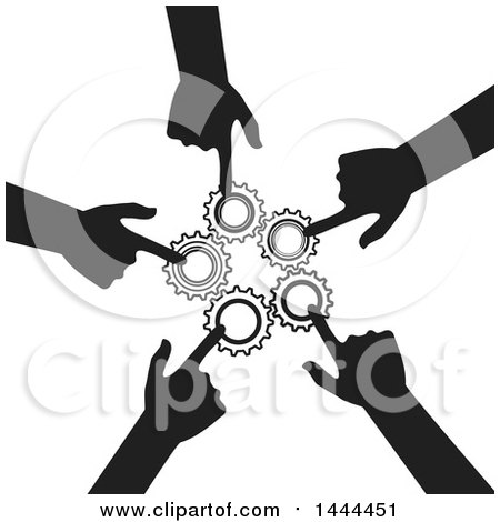 Clipart of a Cricle of Silhouetted Hands Pointing to Gears - Royalty Free Vector Illustration by ColorMagic