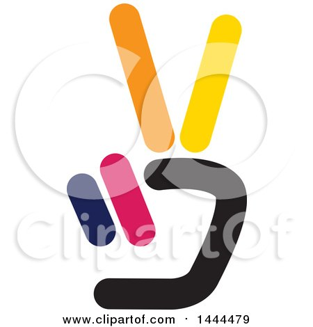 Clipart of a Hand Holding up Two Fingers - Royalty Free Vector Illustration by ColorMagic