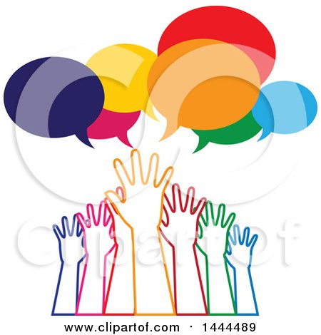 Clipart of a Group of Colorful Hands Reaching for Help Under Speech Bubbles - Royalty Free Vector Illustration by ColorMagic
