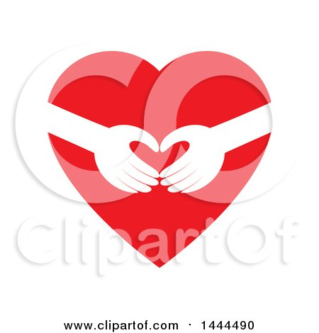 Clipart of a Red Heart with Hands Reaching - Royalty Free Vector Illustration by ColorMagic