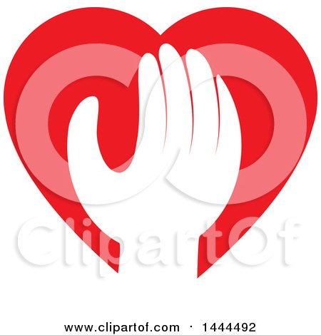 Clipart of a Red Heart with a Reaching Hand - Royalty Free Vector Illustration by ColorMagic