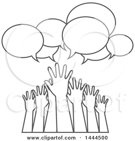 Clipart of a Group of Grayscale Lineart Hands Reaching for Help Under Speech Bubbles - Royalty Free Vector Illustration by ColorMagic