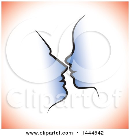 Clipart of a Profiled Silhouetted Couple's Faces with Red Shading - Royalty Free Vector Illustration by ColorMagic