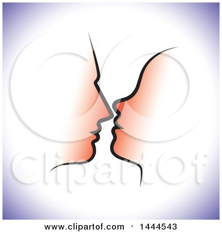 Clipart of a Profiled Silhouetted Couple's Faces with Purple Shading - Royalty Free Vector Illustration by ColorMagic