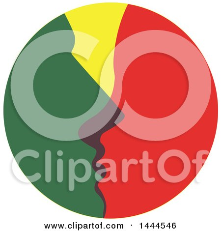 Clipart of a Green and Red Couple Kissing in a Circle - Royalty Free Vector Illustration by ColorMagic