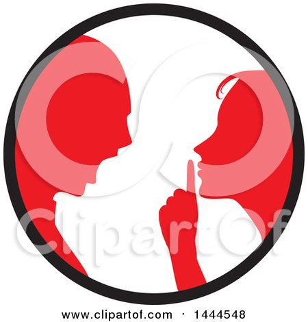Clipart of a Red Silhouetted Woman Shushing and Arguing with a Man Inside a Circle - Royalty Free Vector Illustration by ColorMagic