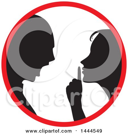 Clipart of a Black Silhouetted Woman Shushing and Arguing ...