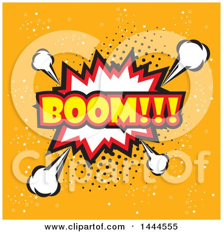 Clipart of a Comic Styled BOOM Explosion Balloon over Orange - Royalty Free Vector Illustration by ColorMagic