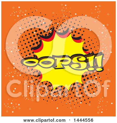 Clipart of a Comic Styled Oops Explosion Balloon over Orange - Royalty Free Vector Illustration by ColorMagic