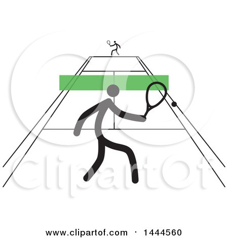 Clipart of Stick Men Playing Tennis - Royalty Free Vector Illustration by ColorMagic