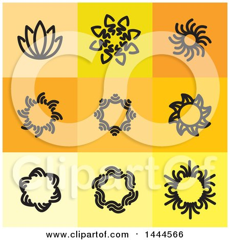 Clipart of Black Floral Symbol Icons - Royalty Free Vector Illustration by ColorMagic