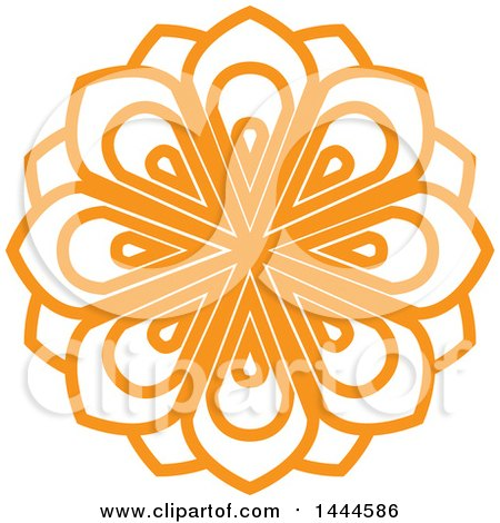 Clipart of a Mandala Floral Design in Orange - Royalty Free Vector Illustration by ColorMagic