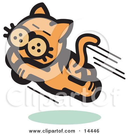 Happy Cat Running and Jumping Through the Air Clipart Illustration by Andy Nortnik