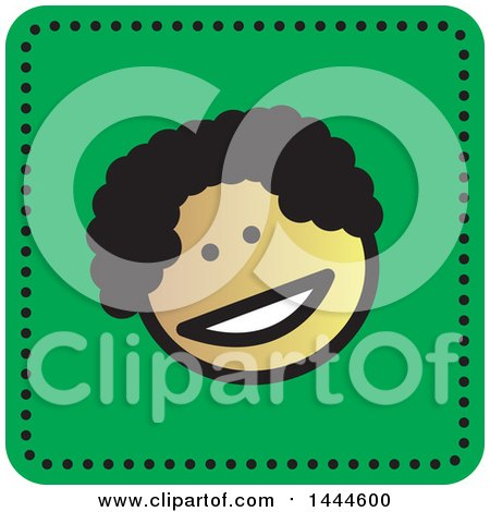 Clipart of a Black Stick Boy Avatar Face Icon - Royalty Free Vector Illustration by ColorMagic