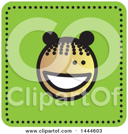 Clipart of a Black Stick Girl Avatar Face Icon - Royalty Free Vector Illustration by ColorMagic