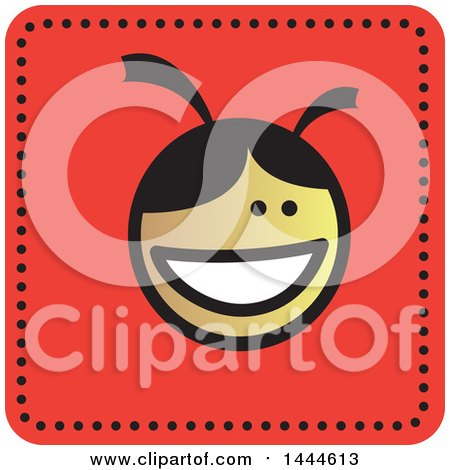 Clipart of a Stick Girl Avatar Face Icon - Royalty Free Vector Illustration by ColorMagic