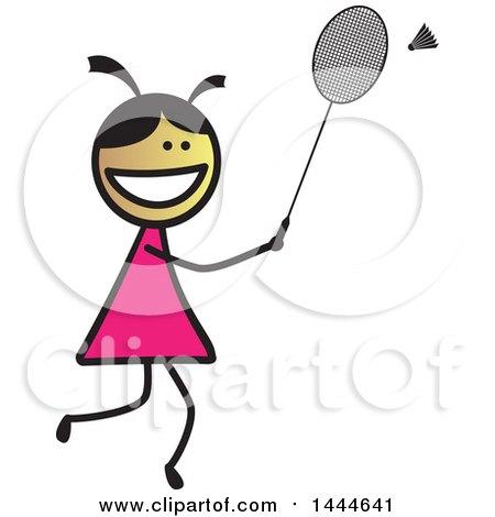 Stick Girl Playing Badminton Posters, Art Prints