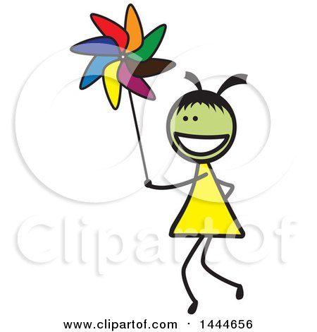 Stick Girl Playing with a Pinwheel Posters, Art Prints