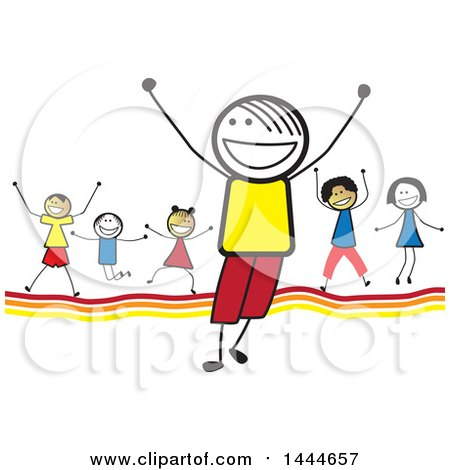 Group of Stick Children Cheering Posters, Art Prints