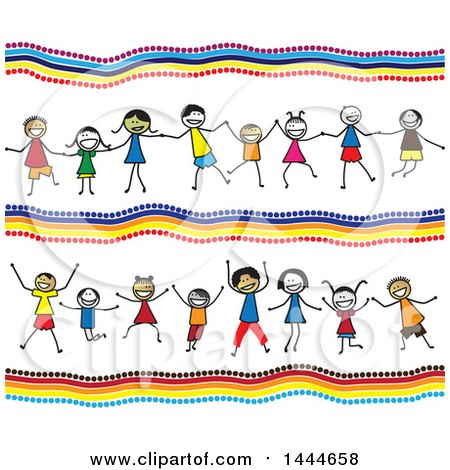 Background with Groups of Stick Children Holding Hands and Cheering Posters, Art Prints