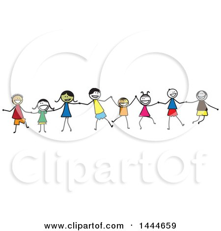 Group of Stick Children Holding Hands Posters, Art Prints