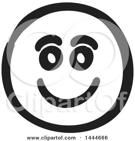 Clipart of a Black and White Happy Smiley Emoticon Face - Royalty Free Vector Illustration by ColorMagic