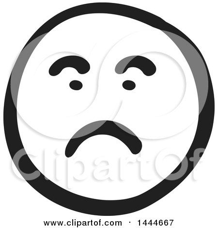 Clipart of a Black and White Unhappy Smiley Emoticon Face - Royalty Free Vector Illustration by ColorMagic
