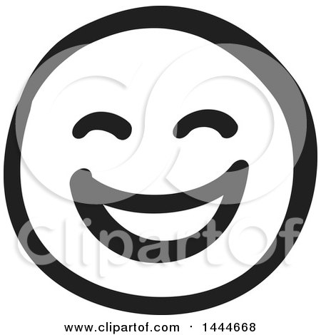 Clipart of a Black and White Laughing Smiley Emoticon Face - Royalty Free Vector Illustration by ColorMagic
