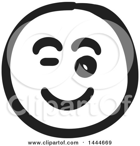 Clipart of a Black and White Flirty Smiley Emoticon Face - Royalty Free Vector Illustration by ColorMagic