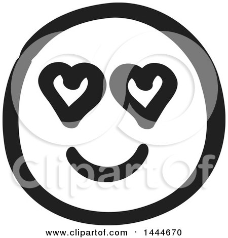 Clipart of a Black and White Love Struck Smiley Emoticon Face - Royalty Free Vector Illustration by ColorMagic