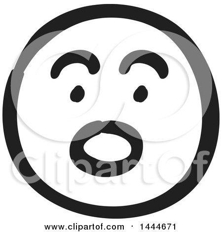 Clipart of a Black and White Surprised Smiley Emoticon Face - Royalty Free Vector Illustration by ColorMagic