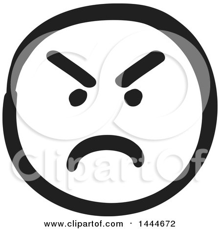 Clipart of a Black and White Mad Smiley Emoticon Face - Royalty Free Vector Illustration by ColorMagic