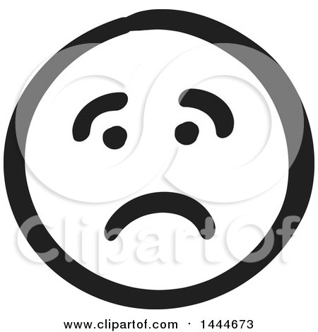 Clipart of a Black and White Sad Smiley Emoticon Face - Royalty Free Vector Illustration by ColorMagic