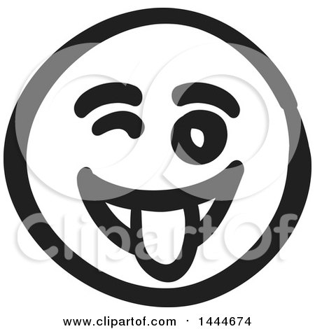 Clipart of a Black and White Silly Smiley Emoticon Face - Royalty Free Vector Illustration by ColorMagic